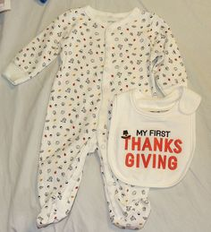 Infant Unisex Carters Ivory Orange Brown My First Thanksgiving Outfit Bib NB 3M