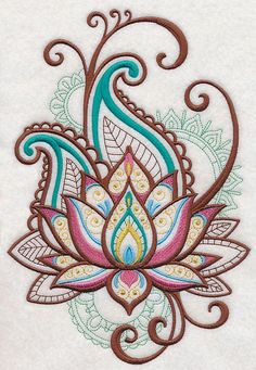 Machine Embroidery Designs at Embroidery Library! – Lotus Machine Embroidery Designs at Embroidery Library! – Lotus This image has get. Machine Embroidery Designs, Embroidery Patterns, Hand Embroidery, Garden Embroidery, Embroidery Tattoo, Paisley Embroidery, Beginner Embroidery, Flower Embroidery, Vintage Embroidery