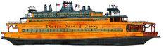 Staten Island Ferry John F. Kennedy: ship print / nautical illustration