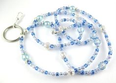 Baby Blue Czech Crystal and Pearl Lanyard  Perfect by OklahomaMama, $12.00