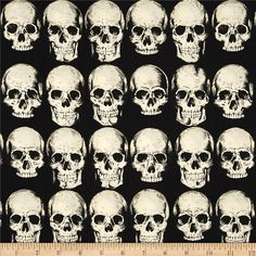 Alexander Henry Nicole's Prints Rad Skull Black from @fabricdotcom  Designed by Deleon Design Group for Alexander Henry, this cotton print is perfect for quilting, apparel and home decor accents. Colors include black and cream.
