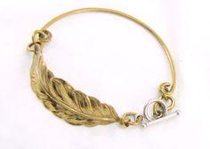 Feather Bracelet | Gold Feather Bracelet Handmade Brass Bangle by Cuprum29 #cuprum29jewelry #group2020