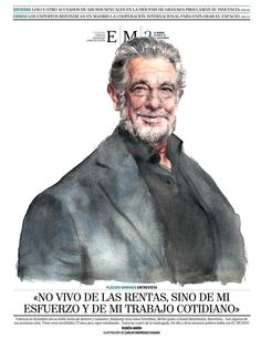 Plácido Domingo caricature for EM2, 28/11/2014. Carlos Rodríguez Casado