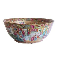 Chinese Export Porcelain Massive Rose Mandarin Punch Bowl | From a unique collection of antique and modern porcelain at https://www.1stdibs.com/furniture/dining-entertaining/porcelain/