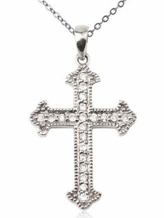 Sterling Silver and Cubic Zirconia Vintage Cross Pendant Joolwe. $37.99. Save 49% Off!