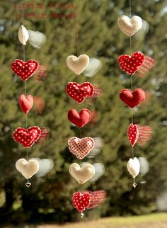 Hearts  Christmas garland  red white and by littlefishlittlebird, $8.00
