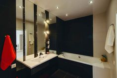 Small Apartments, Small Spaces, Studio Apartment Design, Bathroom Lighting, Bathtub, Mirror, Furniture, Home Decor, Small Space