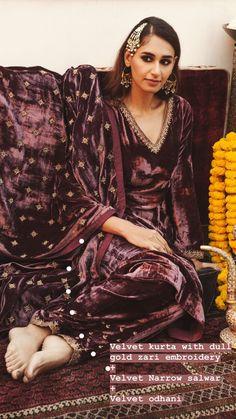 To Stay Stylishly Warm At Winter Weddings: Outfit Ideas! Maroon velvet kurta with dull gold zari embroidery, velvet narrow salwar and velvet dupatta by Sureena Chowdhri M-block market designer store for Indian wedding outfits Winter Wedding Outfits, Indian Wedding Outfits, Indian Outfits, Winter Weddings, Indian Weddings, Pakistani Dress Design, Pakistani Dresses, Indian Dresses, Muslim Wedding Dresses