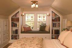 Second story built-ins, bookshelves, window seat
