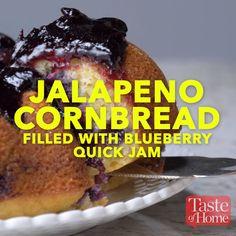 Jalapeno Cornbread filled with Blueberry Quick Jam Recipe