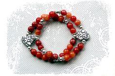 PYKNIC2 Valentine red beaded heart charm bracelet set by PYKNIC2, $8.50 ❤ www.pyknic2.etsy.com