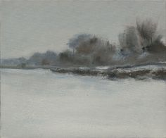 """Saatchi Online Artist Alan Perriman; Painting, """"Snow Falling on the Windsor Road"""" - the blue-lilac hue of the snow, gives hints of the winter's cold... and the dimming of the light in the day's end..."""