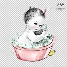 Adorable Vintage Baby Girl in Bubble Bath LARGE Digital Vintage Image Download Sheet Transfer To Totes Pillows Tea Towels T-Shirts-269