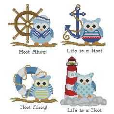 Hooties Nautical Collection Cross Stitch Pattern by PinoyStitch