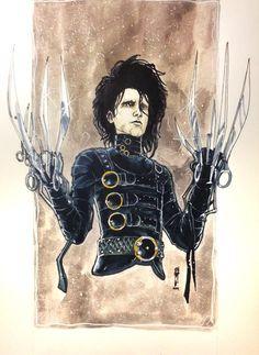 Edward Scissor Hands by Garrie Gastonny Tim Burton Johnny Depp, Tim Burton Art, Tim Burton Films, Garra, Tim Burton Characters, Johnny Depp Movies, Dark And Twisted, Geek Games, Edward Scissorhands