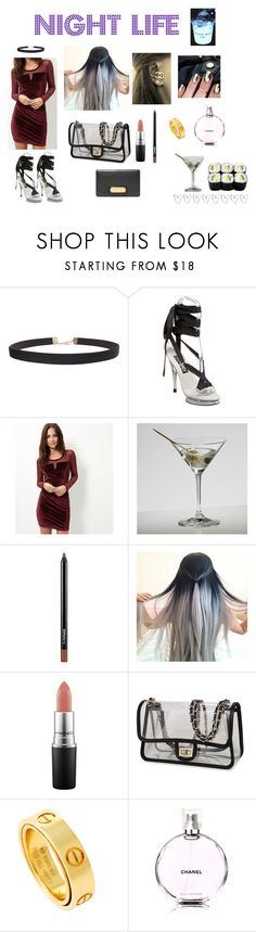 """""""Night Life"""" by sheilapatis ❤ liked on Polyvore featuring Humble Chic, Funtasma, New Look, Riedel, MAC Cosmetics, Cartier, Chanel, Marc by Marc Jacobs and Prada"""