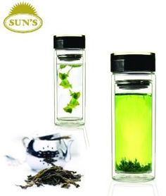 Glass, double-wall (insulated), travel tea mug with tea leaf strainer insert.  How cool is this?