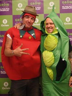 Some of the Coldplay crew don vegetable garb, to show their support of Oxfam's GROW Campaign. Already, almost a billion of us go to bed hungry every night. Not because there isn't enough. But because of the deep injustice in the way the system works. And because too many of the ways we grow today are using up and destroying the natural resources on which we all rely. Thanks to Coldplay and their crew for supporting our campaign to fix the food system. Photo via @oxfamontour…