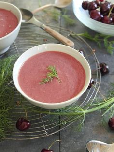 Chilled cherry fennel soup - This chilled cherry fennel soup is just slightly sweet with a tangy fennel and dill flavor.