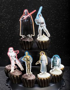 Thanks to HP® for sponsoring this article. Add just the right amount of good and evil to your Star Wars celebration with these cupcake toppers featuring Darth Vader, Luke Skywalker, Princess Leia, C-3PO, R2-D2, and a ready to action, Stormtrooper.