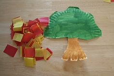Moses and the Burning Bush Craft ... paper plate, tissue paper squares, and a little bit of green & brown paint!