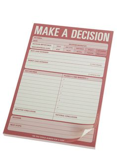 Make A Decision Notepad $7.99 - for my husband