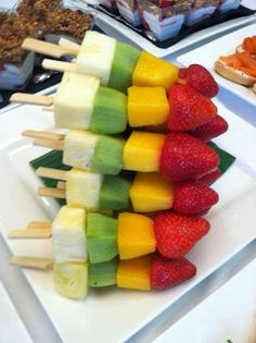 fruit kabobs. What a great idea! www.fourcorners.com