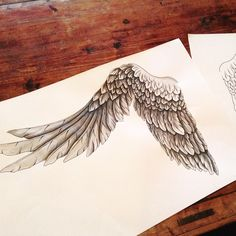 Finished this awesome design today! #wings #tattoo #ink #inked #blackandgrey…