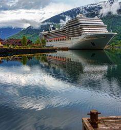 MSC Poesia at berth in Flaam Cruise Tips Royal Caribbean, Msc Cruises, World Cruise, Cruise Holidays, Sail Away, Cruise Ships, Bliss, Transportation, Sailing
