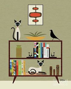 Eames Cat Wall Art - Digital Art - Mid Century Bookcase With Siamese by Donna Mibus Mid Century Modern Art, Mid Century Art, Canvas Wall Art, Canvas Prints, Vintage Cat, Vintage Vogue, Just Dream, Cat Wall, Modern Art Prints