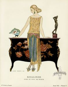 1922 gown by Worth, art by George Barbier Art Deco Art Deco Wall Art, Art Français, Art Deco Print, Art Deco Design, Illustrations Vintage, Art Deco Illustration, Fashion Illustration Vintage, Historical Illustrations, Art Vintage