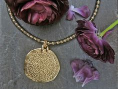 FREE SHIPPING,Queen Golden Necklace with Long Leather Cord Hammered Pendant - Women Necklace