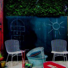 ::  outdoor blackboard on fence