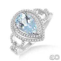 9x6mm Pear Shape Aquamarine Round Cut Diamond Ring RIJ-DIA675
