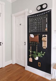 Command Center Kitchen, Family Command Center, Chalkboard Command Center, Command Centers, Family Organizer, Modern Family, First Home, Home Organization, Organizing Tips