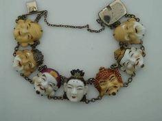 """Silver Asian Toshikane Japan Seven Fortune Gods 7"""" Bracelet Immortals Vintage, sold on eBay $297, 3/23/14"""