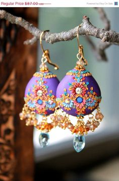 Polymer Clay Embroidery Style Earrings by Peelirohini --- Swiss Blue Topaz, Andalusite and Mystic Quartz clusters with clay floral earrings in gold - la peinture violette