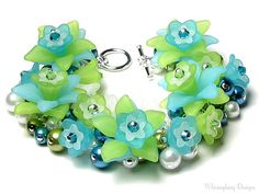 Sea Breeze Tropical Teal Blue White Lime Green Acrylic Flower Pearl Cluster Silver Charm Bracelet
