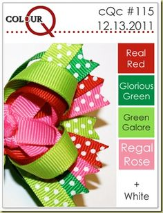 real red, glorious green, green galore, regal rose and whisper white--like this color combo.