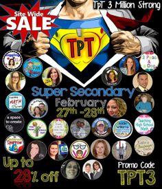 Super Secondary Sale Celebrating 3 Million Members on TeachersPayTeachers!