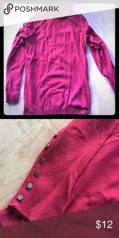 Button detail soft red turtleneck sweater Loft thin turtleneck sweater. Red with button detail at wrists. LOFT Sweaters Cowl & Turtlenecks