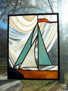 PATTERN for Stained Glass Sailboat Love the swirled glass results for the background. Stained Glass Paint, Stained Glass Ornaments, Stained Glass Suncatchers, Stained Glass Designs, Stained Glass Panels, Stained Glass Projects, Stained Glass Patterns, Mosaic Art, Mosaic Glass