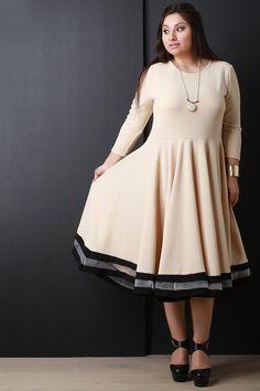 Three Quarter Sleeve Skater Midi Dress – Style Lavish
