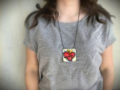 sacred heart ceramic necklace love jewelry geometric pendant