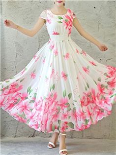Ericdress Flower Print Expansion Round Neck Short Sleeve Maxi Dress