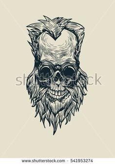 Blacksmith skull vector art Monochrome, T Shirt Image, Tobacco Pipes, Beard No Mustache, Illustrations, Skull And Bones, Skull Art, Blacksmithing, Silhouette Cameo