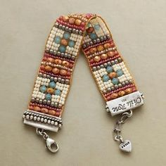 """Adonnah Langer combines Czech and Japanese seed beads with brass and Czech fire-polished beads. Sterling silver end caps, lobster clasp with extension links and heart charm. USA. Exclusive. Fits 6-1/2"""""""" to 7-1/4"""""""" wrists. $495.00 by SundanceCatalog"""