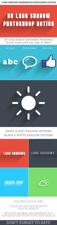 3D Long Shadows Generator Photoshop Action Set - Photoshop Add-ons