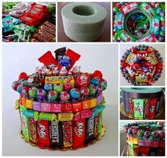 Use leftover Halloween Candy to make centerpieces