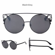 Unique circular metal sunglasses with an elegant metal brow bar on the top of the frame. Definitely a fashionably classic look! Made with an acetate based frame, metal hinges and polycarbonate UV prot
